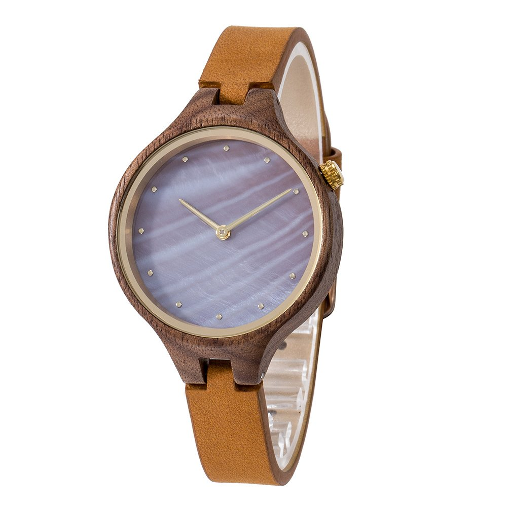 Wood Watch,Bosan Wrist Watch for Women Unique Shell Dial Genuine Leather Strap Fashion Analog Quartz Wooden Watch(Walnut)