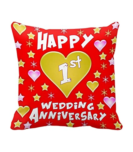 Buy Tied Ribbons 1st Wedding Anniversary Printed Cushion 12 Inch X