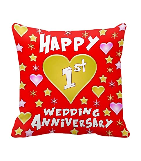 TiedRibbonsreg 1st Wedding Anniversary Gift Printed Cushion12 Inch X 12 With