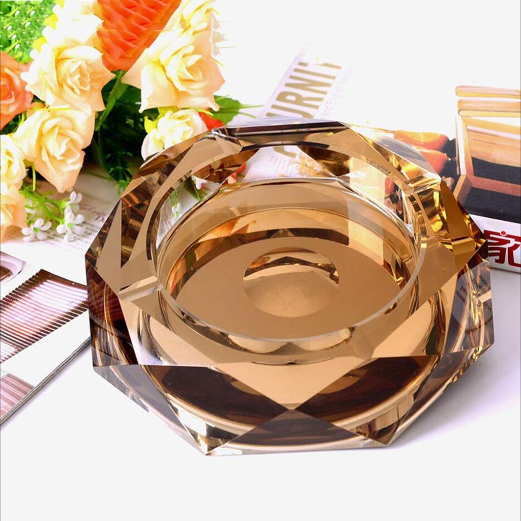 YINJIU Glasaschenbecher, Gold klar, solides Design, 12 * 12 * 4 cm, 15 * 15 * 4 cm, 18 * 18 * 4 cm, 20 * 20 * 4 cm, 25 * 25 * 4,5 cm (größe : 12 * 12 * 3cm)