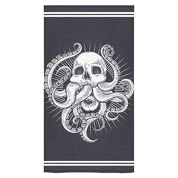 interestprint pulpo Kraken tentáculos blanco y negro calavera toalla de toallas de ducha de mano Playa