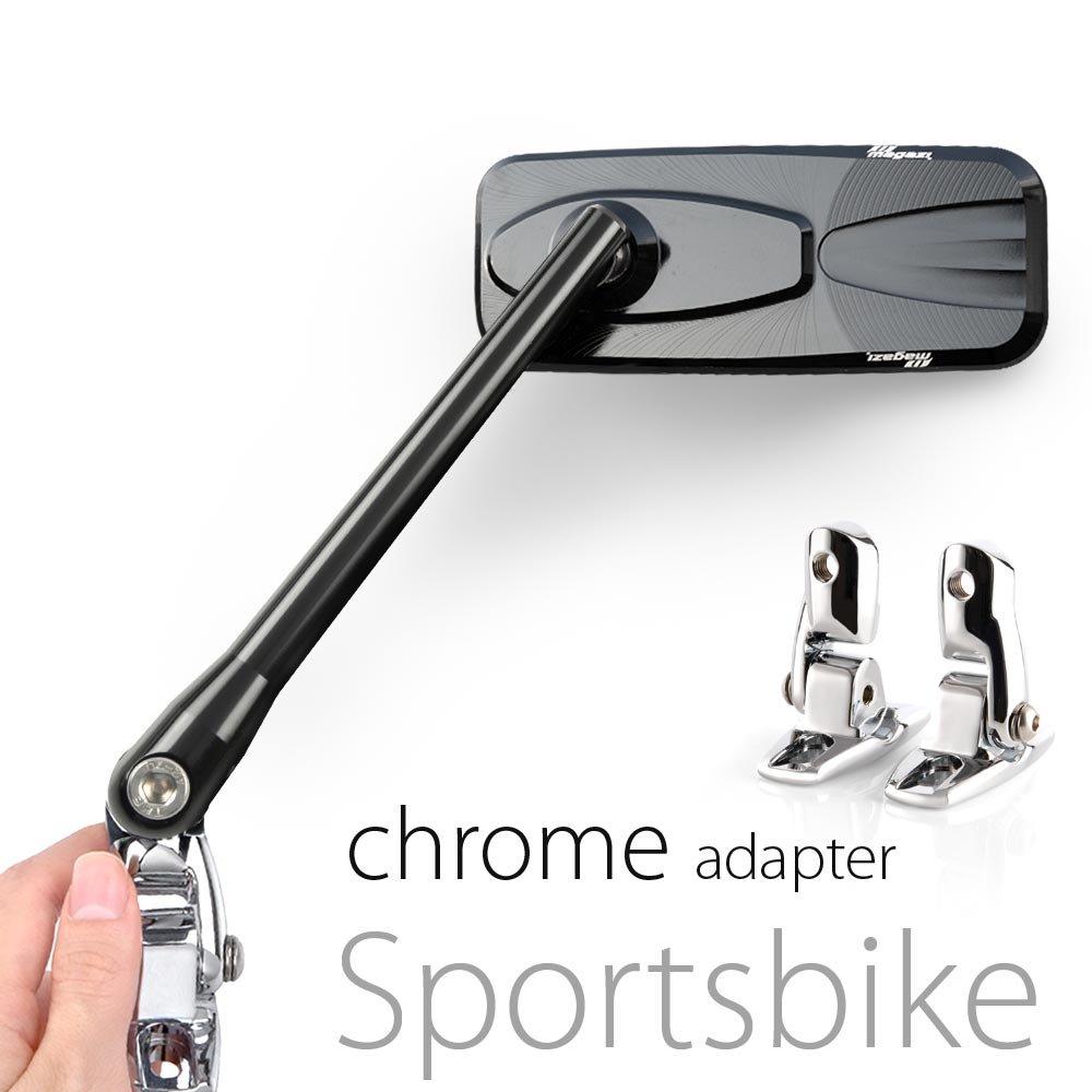 KiWAV Magazi glossy black mirrors aluminum cnc w/ chrome adapter for sport bike