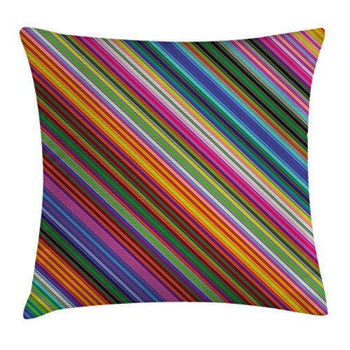 Diagonal Accent - best bags Colorful Throw Pillow Cushion Cover, Vibrant Toned Narrow Diagonal Lines Pinstriped Angular Pattern Digital Style Print, Decorative Square Accent Pillow Case, 18X18 Inches, Multicolor