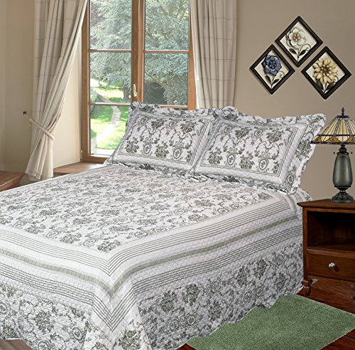 Patch Magic Wisteria Lattice Quilt Set with 2 Shams, Queen, Apple Green
