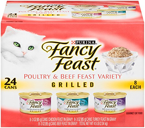 Fancy Feast Wet Cat Food Grilled Poultry & Beef Feast Variety Pack 3-Ounce Can Pack of 24