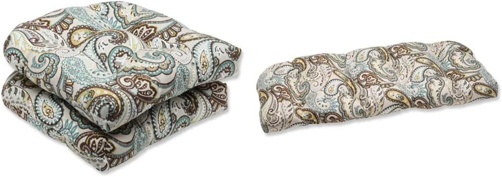 Pillow Perfect Outdoor/Indoor Tamara Paisley Quartz Tufted Seat Cushions (Round Back), 19