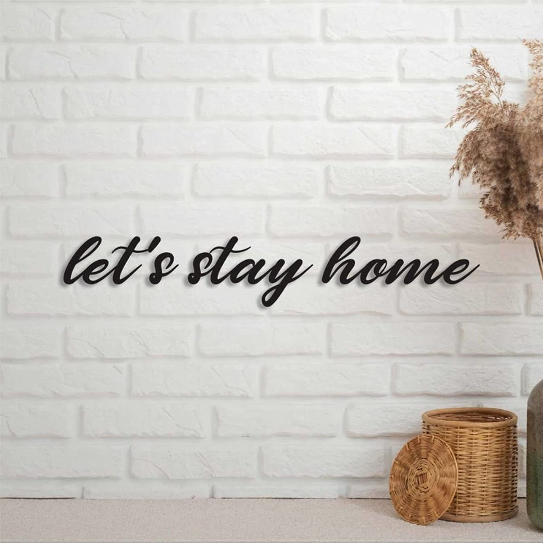 EricauBird Let's Stay Home Words Sign Metal Monogram Letter Wall Art Decor Custom Home Plaque Personalized Rustic Door Hanger Black Sign for Housewarming Gift Outdoor