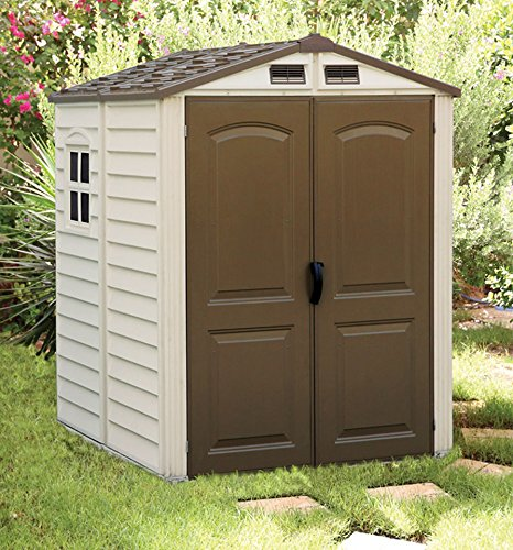 Duramax-StoreMate-6-x-6-Plastic-Garden-Shed-with-Plastic-Floor-Fixed-Window-Ivory-Brown-15-Years-Warranty
