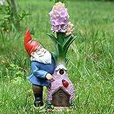Ivy Home Fairy House Statuary Solar Powered Resin Garden Decoration,Spirit and Flower