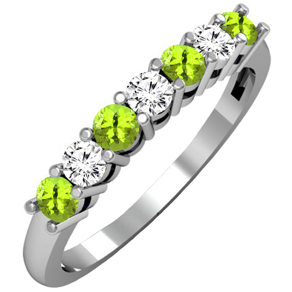 Dazzlingrock Collection 14K Round Peridot & White Diamond Ladies 7 Stone Wedding Band Ring, White Gold, Size 8