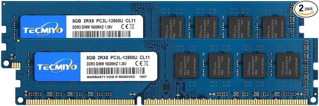 2X8GB Kuesuny 16GB Kit DDR3 1600MHz Udimm Ram PC3-12800 PC3-12800U 1.5V CL11 240 Pin 2RX8 Dual Rank Non-ECC Unbuffered Desktop Computer Memory Ram Module Upgrade