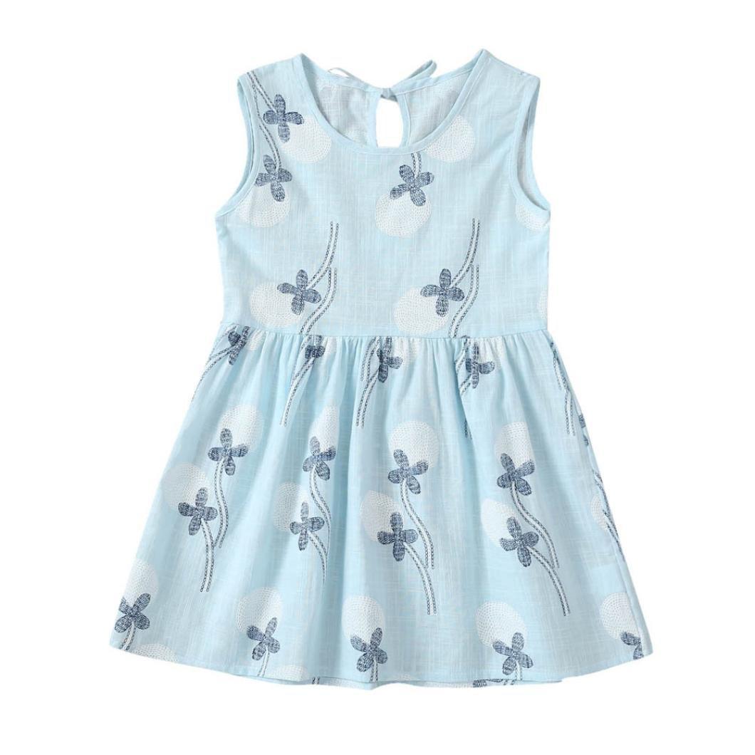 Toddler Baby Girls 4 Color Summer Sleeveless Dandelion Floral Print Princess Dress
