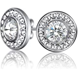Mestige MSER3032 Women's Rhodium Plated Crystals Stud Earrings