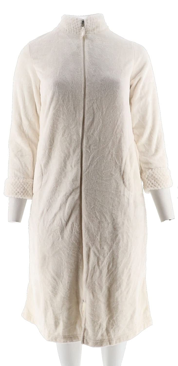 aa4fcdf29c Stan Herman Silky Plush Long Zip Robe A266746 at Amazon Women s Clothing  store
