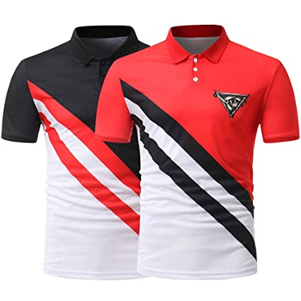 c914e4d651 Amazon.com: DYLXW Mens Casual T Shirts Lapel Sports Contrast Collar ...