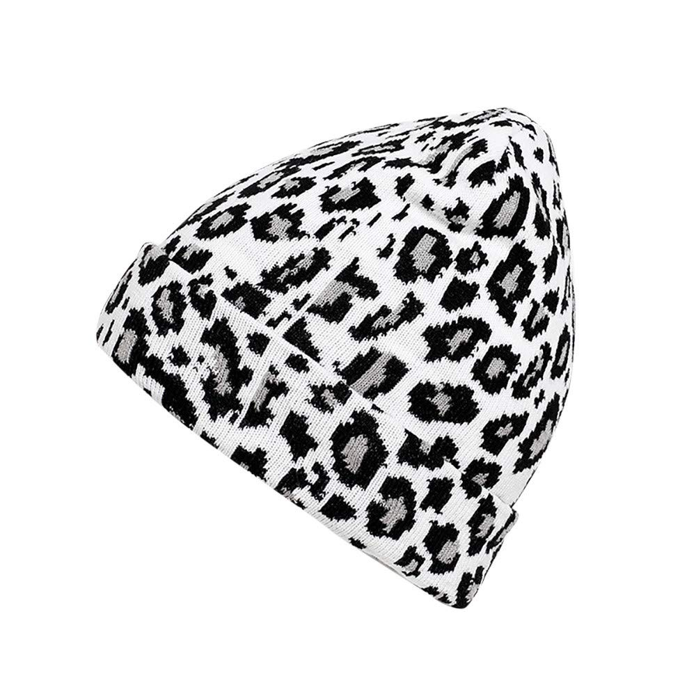 JPOQW Men Women Leopard Hat Woolen Knit Crochet Warm Winter Casual Cap