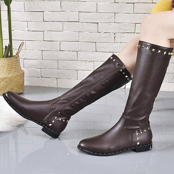 ❤ Botas de Remache de Moda para Mujer, Zapatos sin Cordones con Remaches de Punta Redonda para Mujer con Cierre de Cremallera de Color sólido con Botines ...