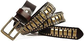 YYPD Cintura Unisex Cintura Rivetto in Vera Pelle con Fibbia Wild Fashion Lunghezza 105cm-125cm Confortevole (Colore : Coffe, Dimensioni : 110cm)