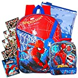 Marvel Spiderman Backpack for Boys Kids ~ Deluxe 16 Inch Spider-man Backpack with Pencil Case, Lunch Bag and Stickers (Spiderman School Supplies)