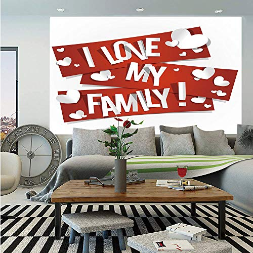Map Canvas Mural Banner - SoSung Family Removable Wall Mural,Red Banners with Family Love Message and White Hearts Passionate Illustration,Self-Adhesive Large Wallpaper for Home Decor 66x96 inches,Red and White