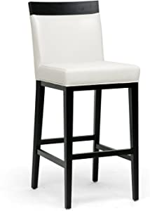 Baxton Studio Clymene Black Wood and Cream Leather Modern Bar Stool