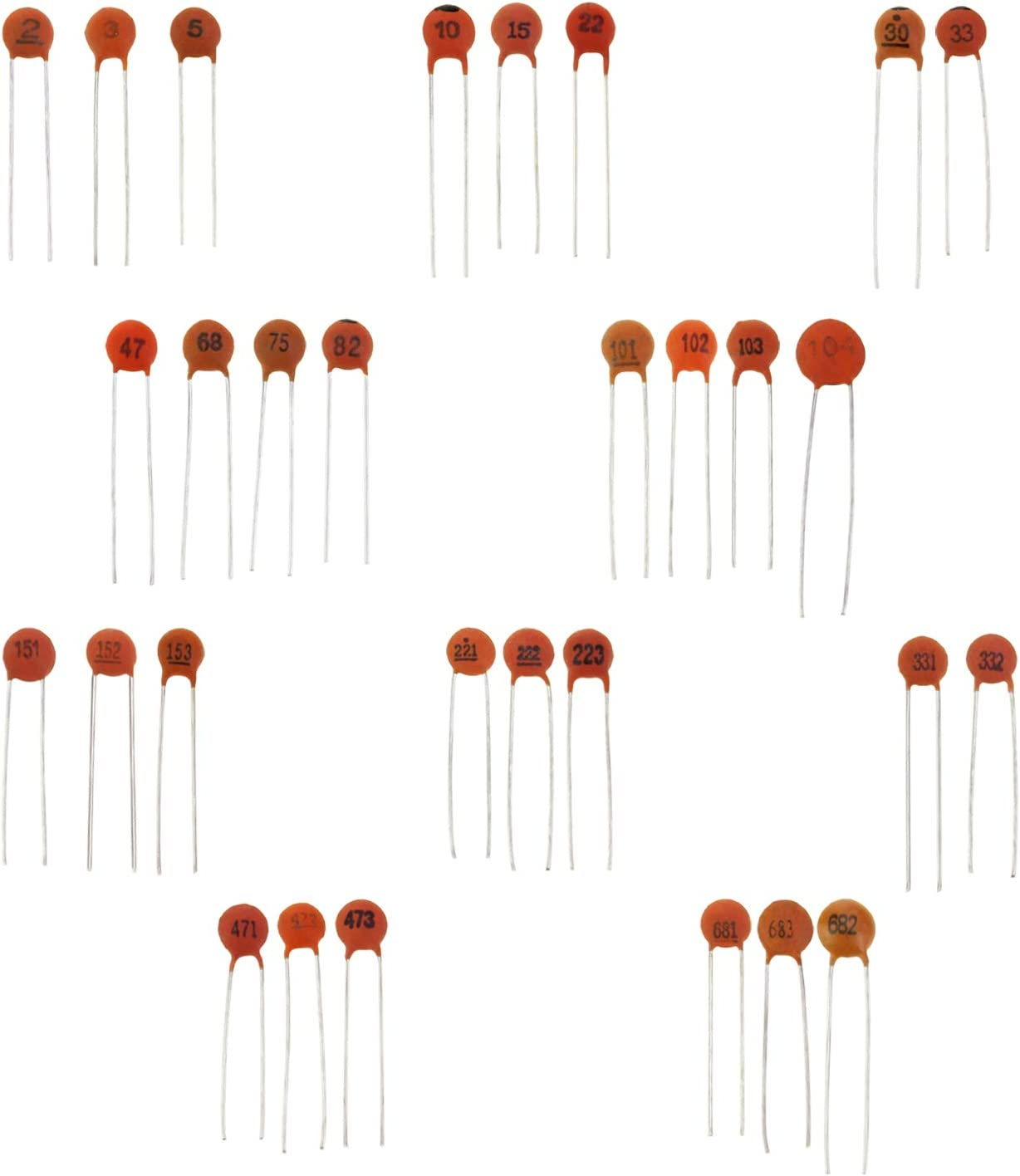 30 x 33pF 50V Ceramic Disc Capacitors Free Shipping