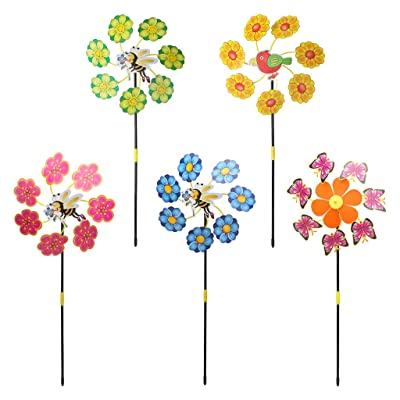 SimpleLif Large Windmills with 7 Flower Heads,3D Cute Animal Insect Bird Windmill Wind Spinner Whirligig Yard Garden Decor Toy,Random Color: Home & Kitchen