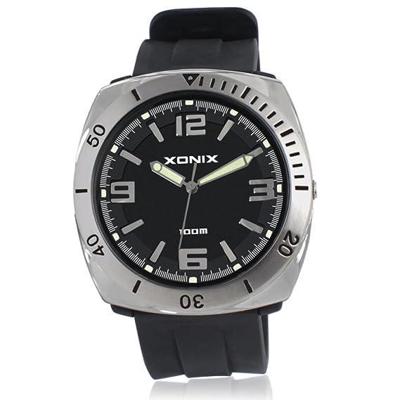 HombresS reloj simple atmósfera digital impermeable cuarzo puntero reloj-A