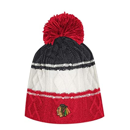 Image Unavailable. Image not available for. Color  adidas Women s Chicago  Blackhawks Beanie Cable Knit Cap with Pom 168e2a7be39
