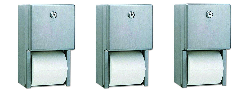 Bobrick B-2888 Classic Series Surface-Mounted Multi-Roll Toilet Tissue Dispenser, Satin (Pack of 3)