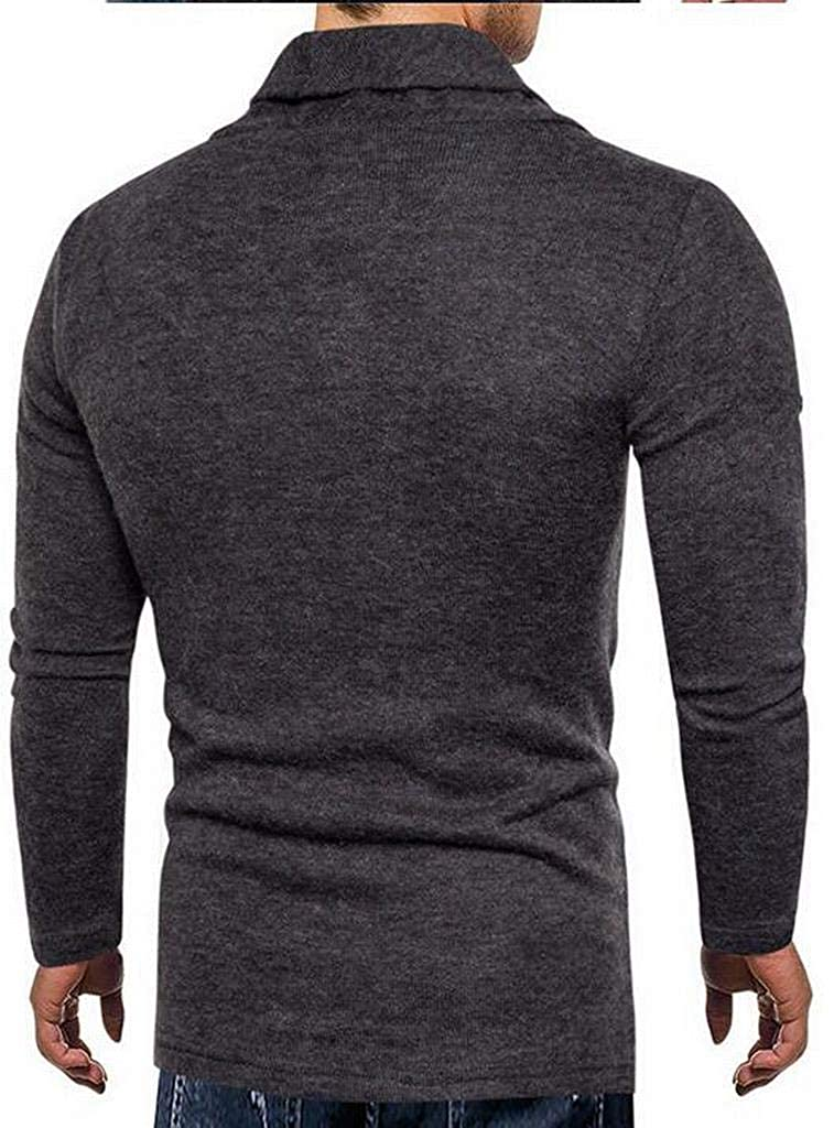 XTX Mens Casual Solid Color Slim Fit Thicken Knitted Pullover Sweaters Jumper