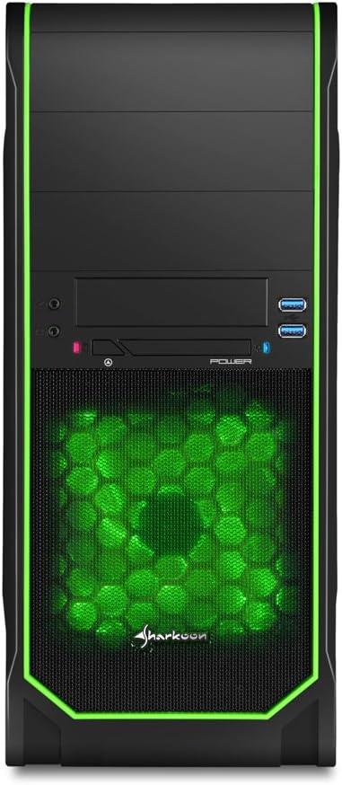 Sharkoon VS3-V - Caja de Ordenador de sobremesa (botón de Restaurar, 2 x USB 3.0, ATX), Negro, Verde: Amazon.es: Informática