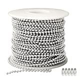 25 Feet of Sterling Silver Ball Chain Spool (3.2mm Bead Diameter) and 25 Connectors