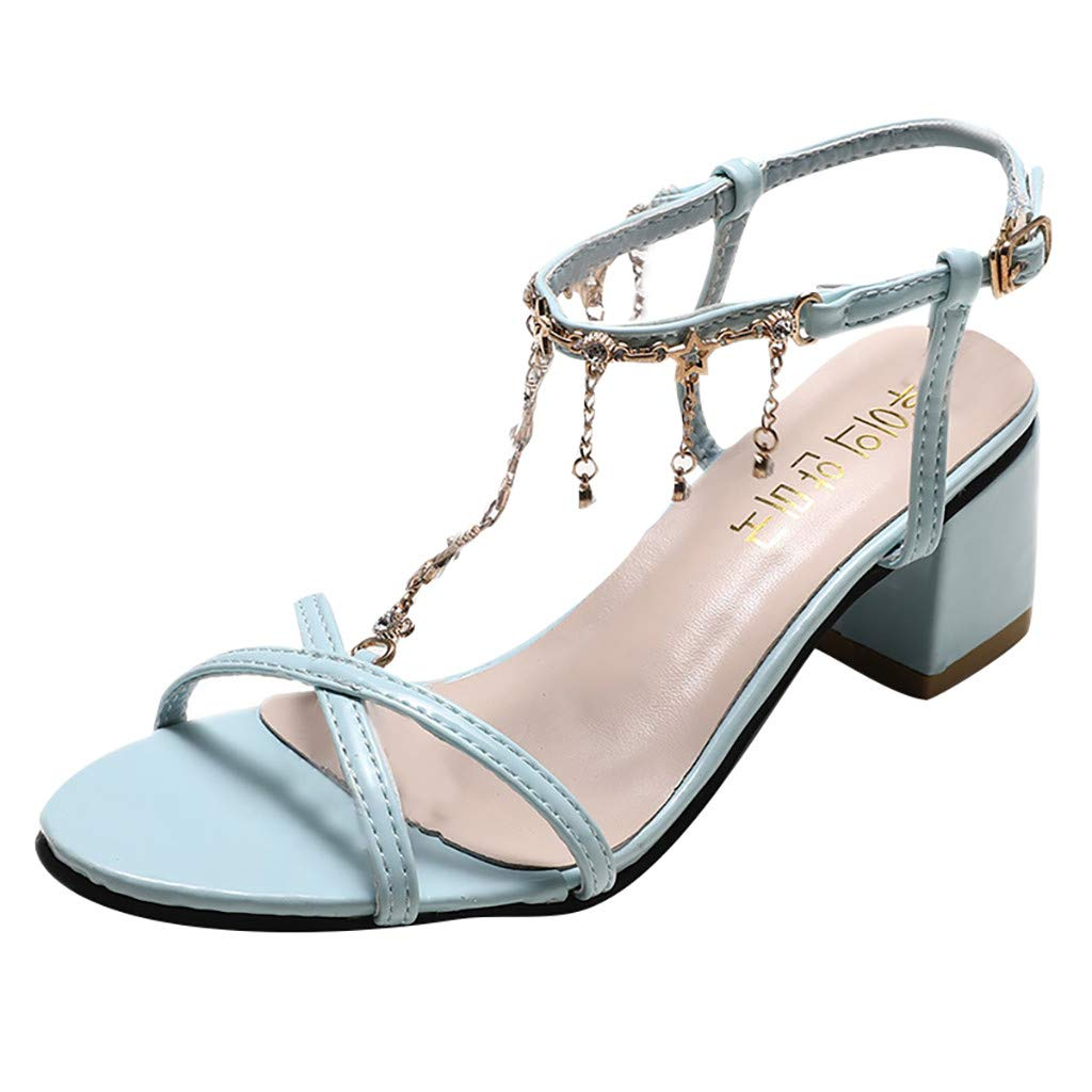 Clearance! Swiusd Womens Girls Rhinestone Beaded Sandals Trendy Slingback Pointed Toe Sandals High Heel Party Dress Shoes (Light Blue, 7 M US) by Clearance! Swiusd