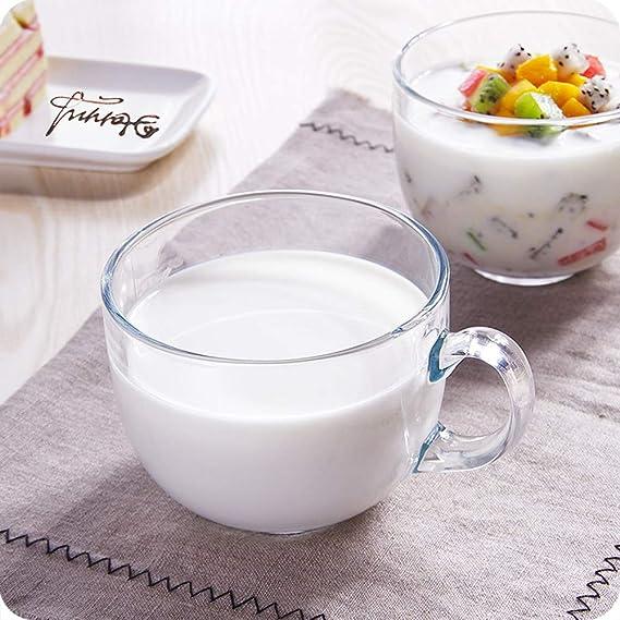 YANG WU Taza de Desayuno de Vidrio, Taza de Leche de Desayuno Transparente de Gran Capacidad con asa, Adecuada para Ensalada de Frutas, Avena, Postre: Amazon.es: Hogar