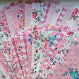 x 50 Pretty Pink 5 Patchwork Squares - PLUS FREE 1 MTR GROSGRAIN RIBBON By CR8 Comercio UK by Simply Sew Crafty