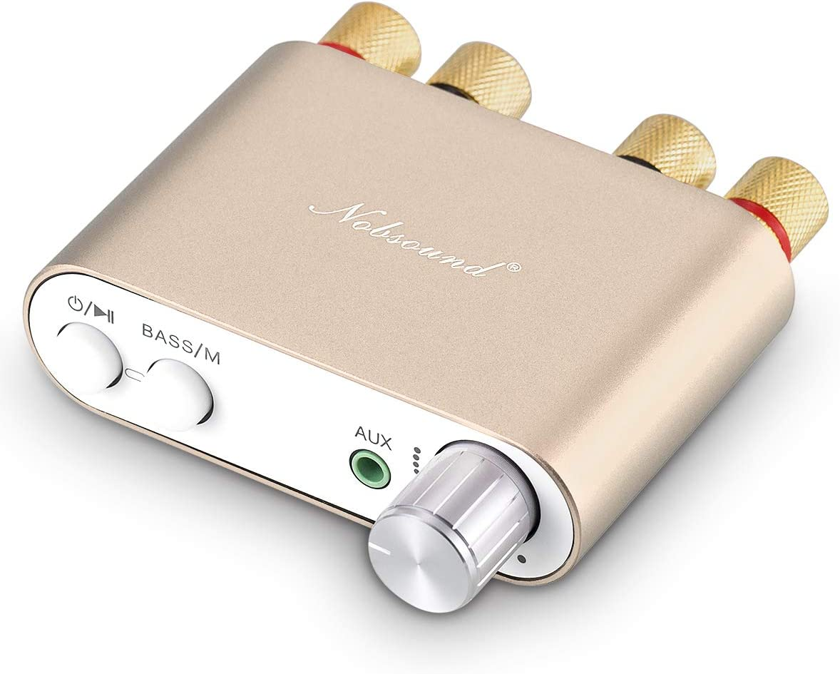 Nobsound NS-10G Mini Bluetooth 5.0 Digital Amplifier 100W HiFi Amp with Power Supply (Gold)
