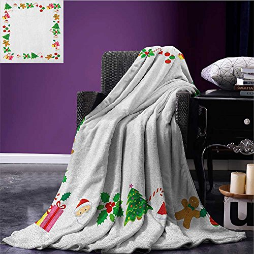 (Kids Christmas emergency blanket Colorful Border with Different Clip Arts Holiday Festivity Santa Trees Balls Print Multicolor size:50