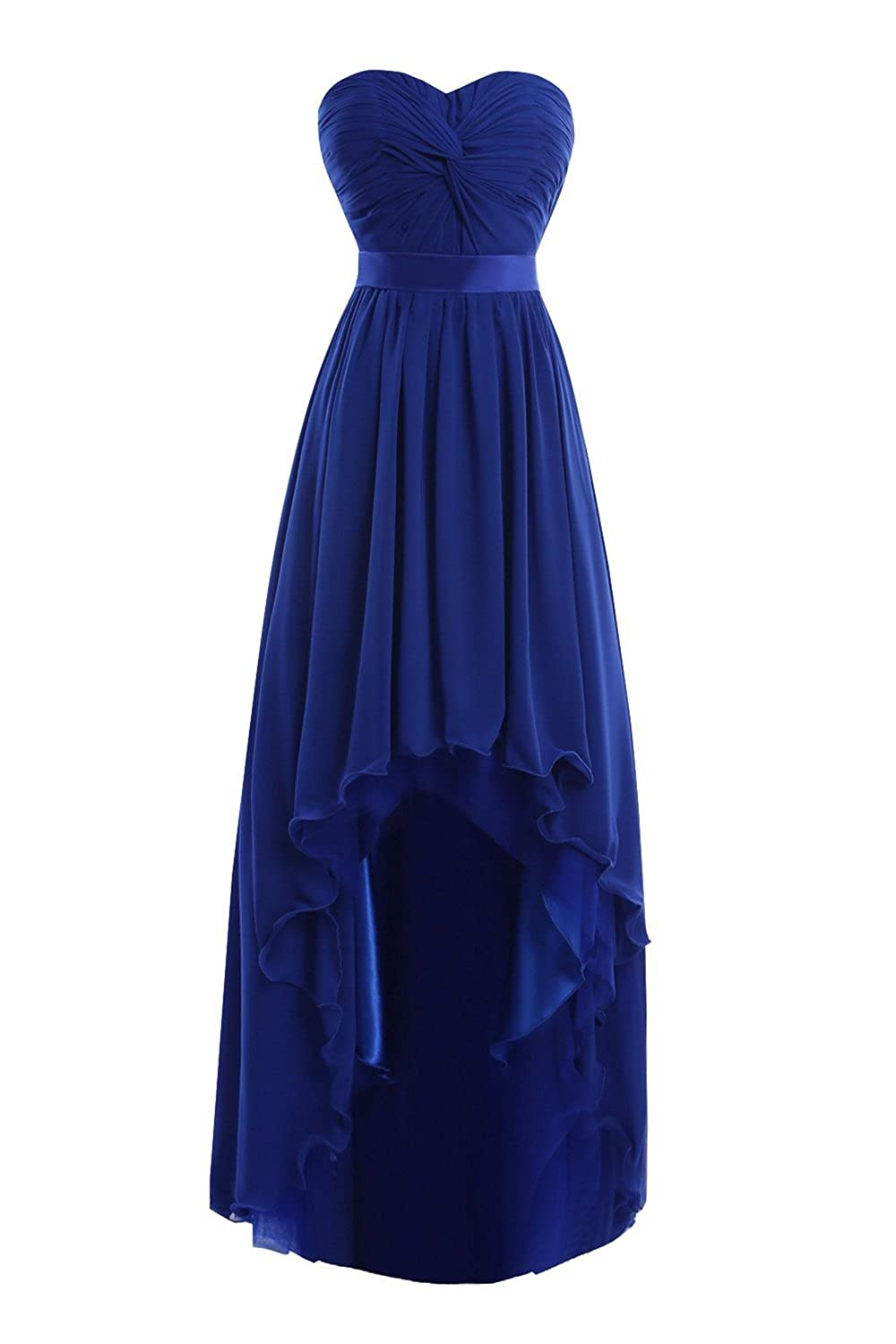 Fanciest Women' Summer Chiffon High Low Bridesmaid Dresses Wedding Party Gowns Red