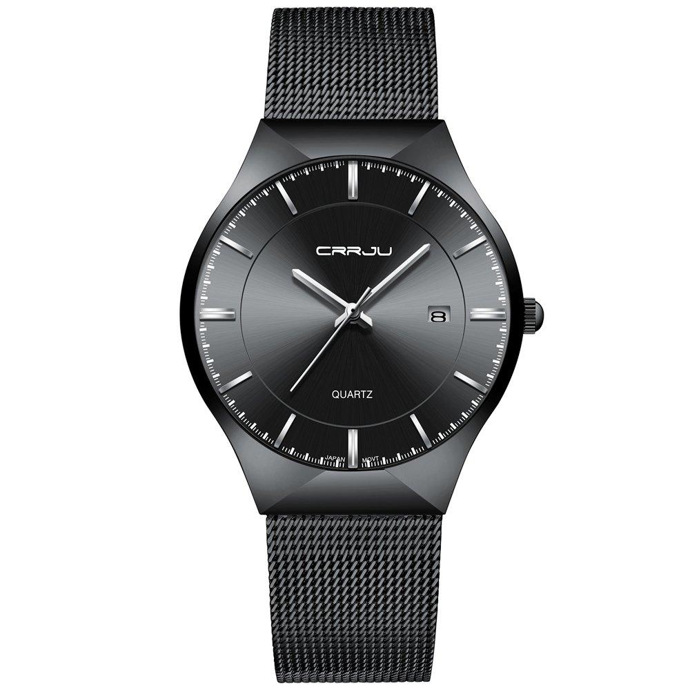 CRRJU Men Business Slim Analog Quartz Watch,Date Black Dial Wrist Watch with Mesh Bracelet Strap by CRRJU (Image #2)