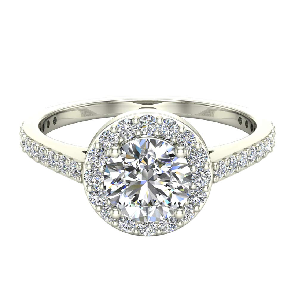 Dainty Halo Diamond Engagement Ring 1.15 carat total weight 14K White Gold (Ring Size 5.5)