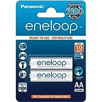 Panasonic eneloop, NiMH-accu gereed voor gebruik, AA mignon, verpakking van 2, 1900 mAh, 2100 laadcycli, met hoog…