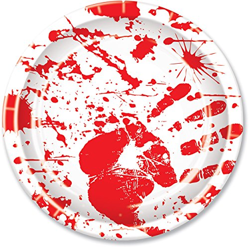 Beistle Halloween Party Decoration Bloody Handprints Plates,Red / White 9