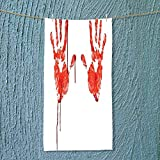 SOCOMIMI Super Absorbent Towel Like Wanting Help Halloween Horror Scary Spooky Flowing Blood Themed Print Red White Ideal for Everyday use