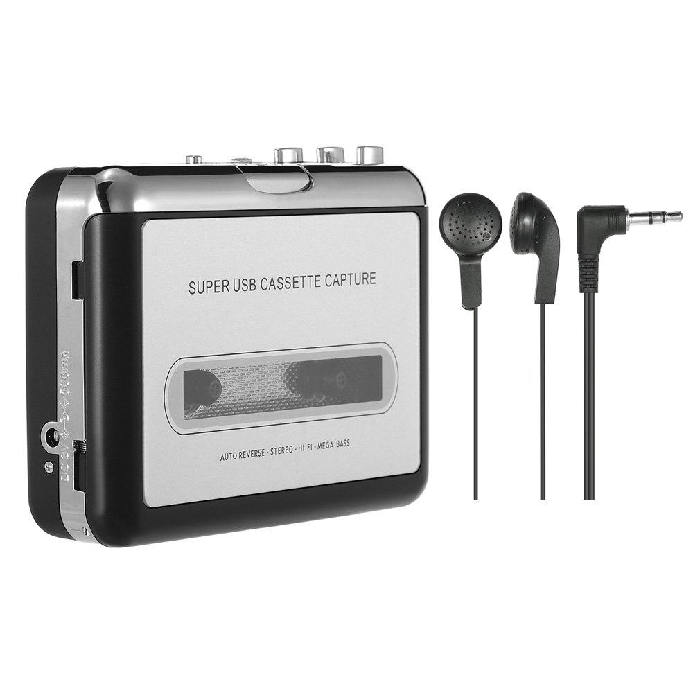 Festnight ezcap Cassette to MP3 Converter USB Cassette Player Recorder Tape-to-MP3 Converter into Computer HiFi Sound Quality Mega Bass Audio Player with Earphone