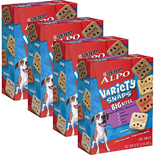 ALPO Variety Snaps Big Bites Dog Treats with Beef, Chicken, Liver & Lamb Flavors 32 oz. Box of 4