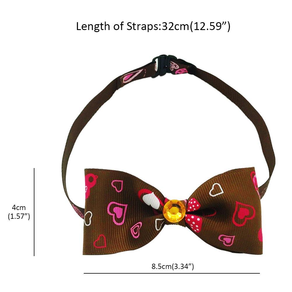 SW Dog Cat Bow Tie Adjustable Pet Small Collar Necktie Pet Supplies Accessories, Coffee