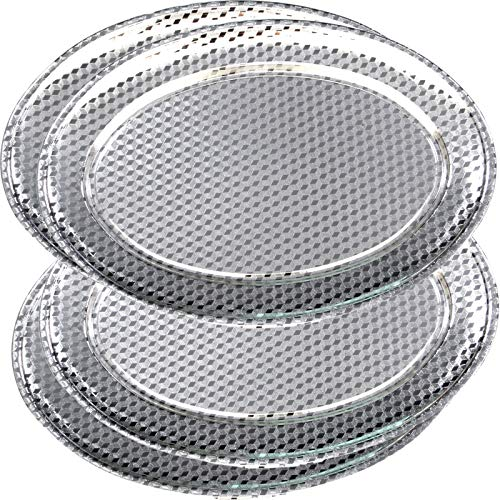 (Maro Megastore (Pack of 4) 19.7-Inch x 13.4-Inch Oval Chrome Plated Serving Tray Edge Bricks Engraved Decorative Holiday Wedding Birthday Buffet Party Dessert Snack Wine Platter Plate 3284 L Tla-024)
