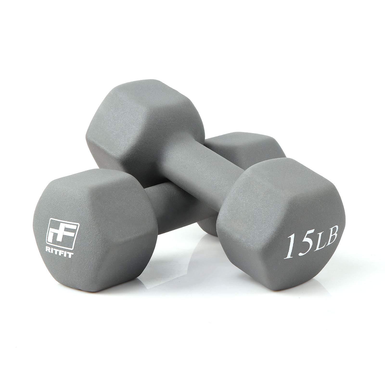 RitFit Set of Two Neoprene Dumbbells Coated for Non-Slip Grip, 1 lb-20 lb (15 Pound(Dark Gray))