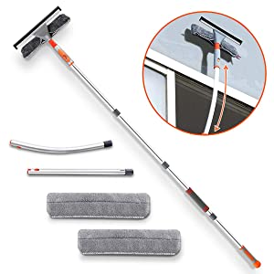 "Squeegee Window Cleaner,Baban 2 in 1 Window Cleaning Tool with Elbow and Straight Extension Pole, 61"" Telescopic Window Washing Equipment with Bendable Head for Car Indoor Outdoor High Windows (2 Pad)"